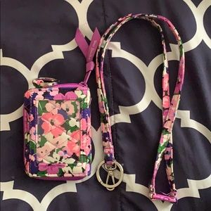 Vera Bradley matching wallet and lanyard.